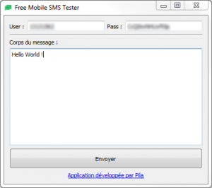 FreeMobileSmsTester screenshot