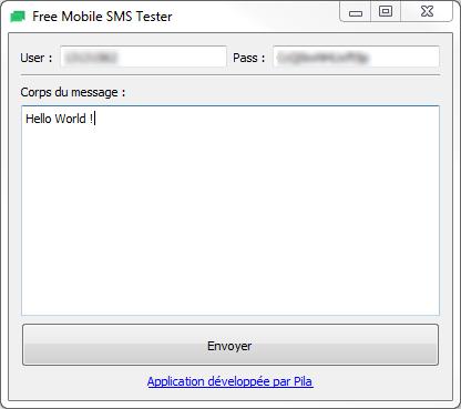 FreeMobileSmsTester screenshot