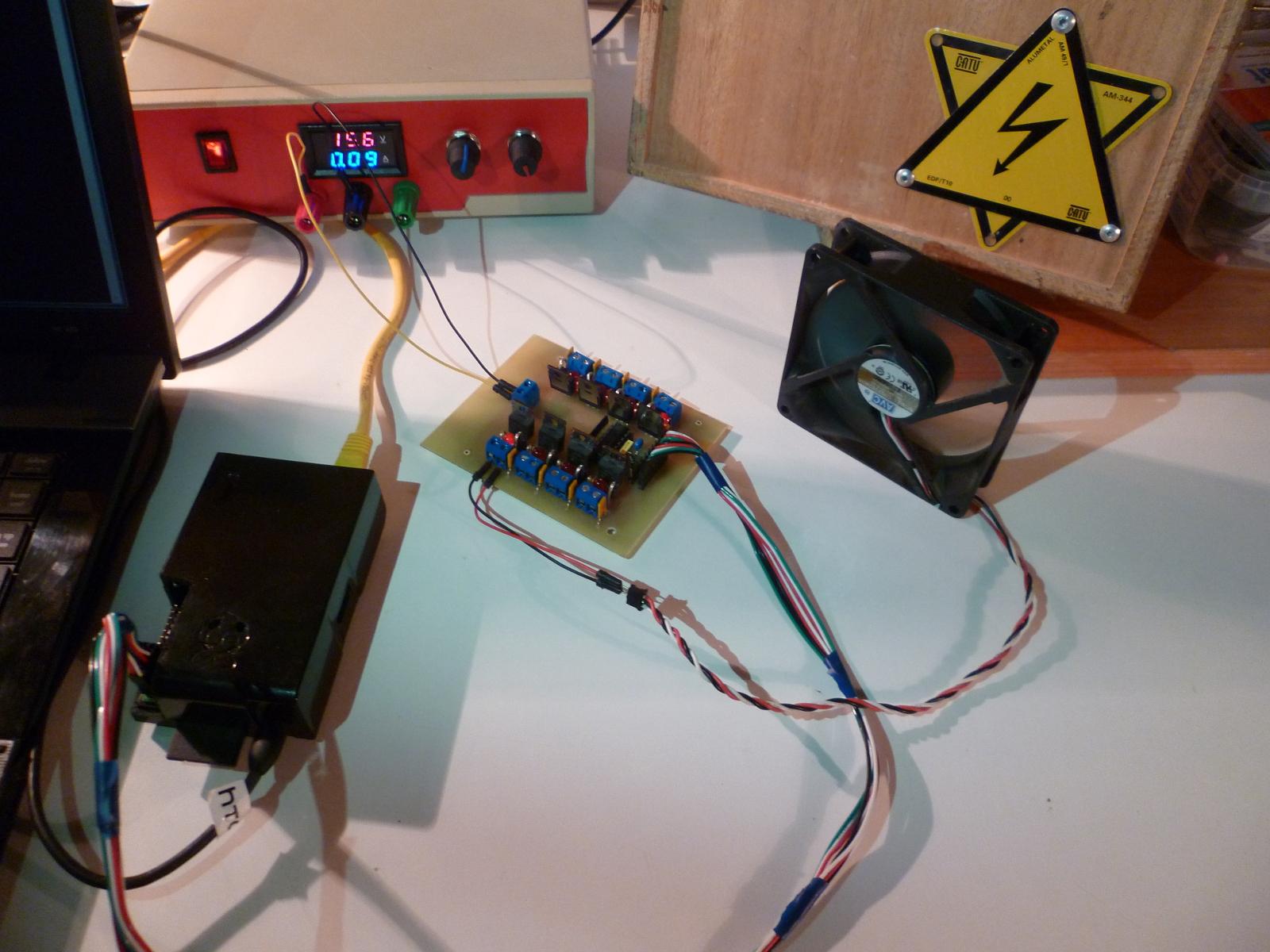 Démonstration ventilateur controlé par Raspberry Pi avec BOB