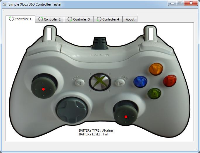 Le logiciel de test Simple Xbox 360 Controller Tester